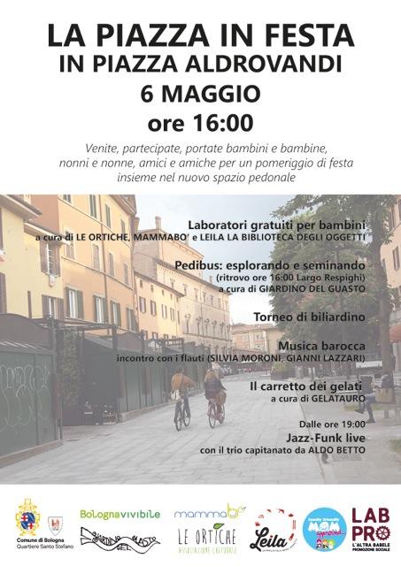 Sabato 6 maggio – Piazza Aldrovandi in festa
