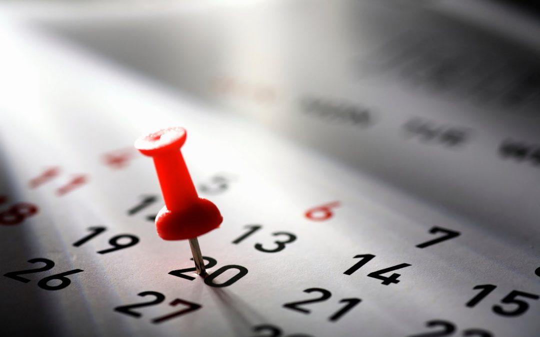 Calendario delle attività del 2019